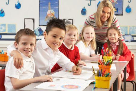 Primary school classroom with teacher